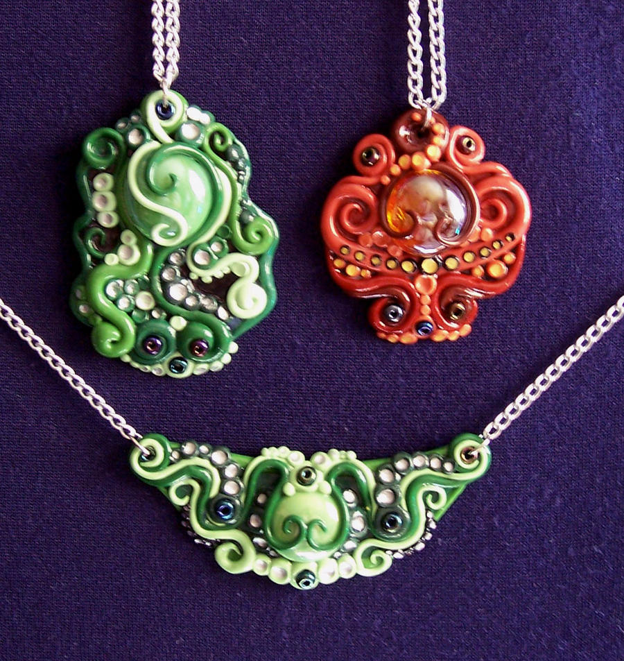 Polymer clay necklaces by Gimmeswords