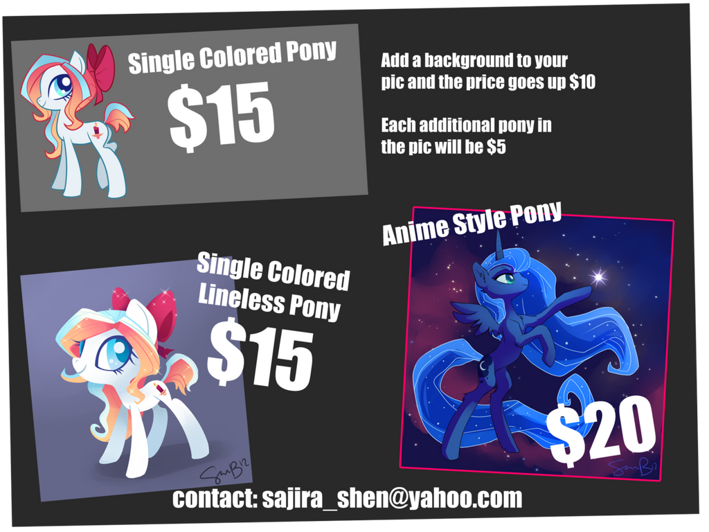 Pony Commission Prices by sambragg