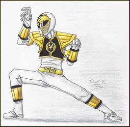Color Pencil White Ranger by Bearded-Stranger