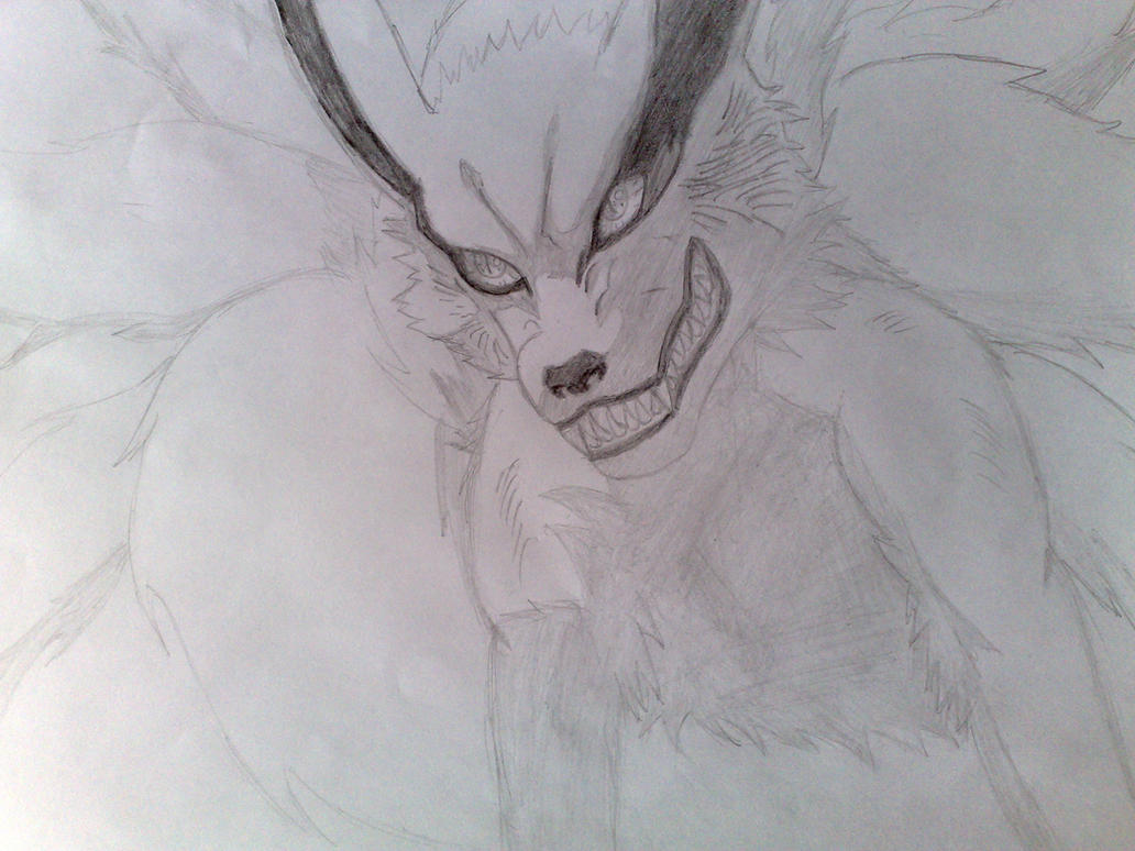 Naruto Kyuubi Kurama Drawing Sketch by agrael34