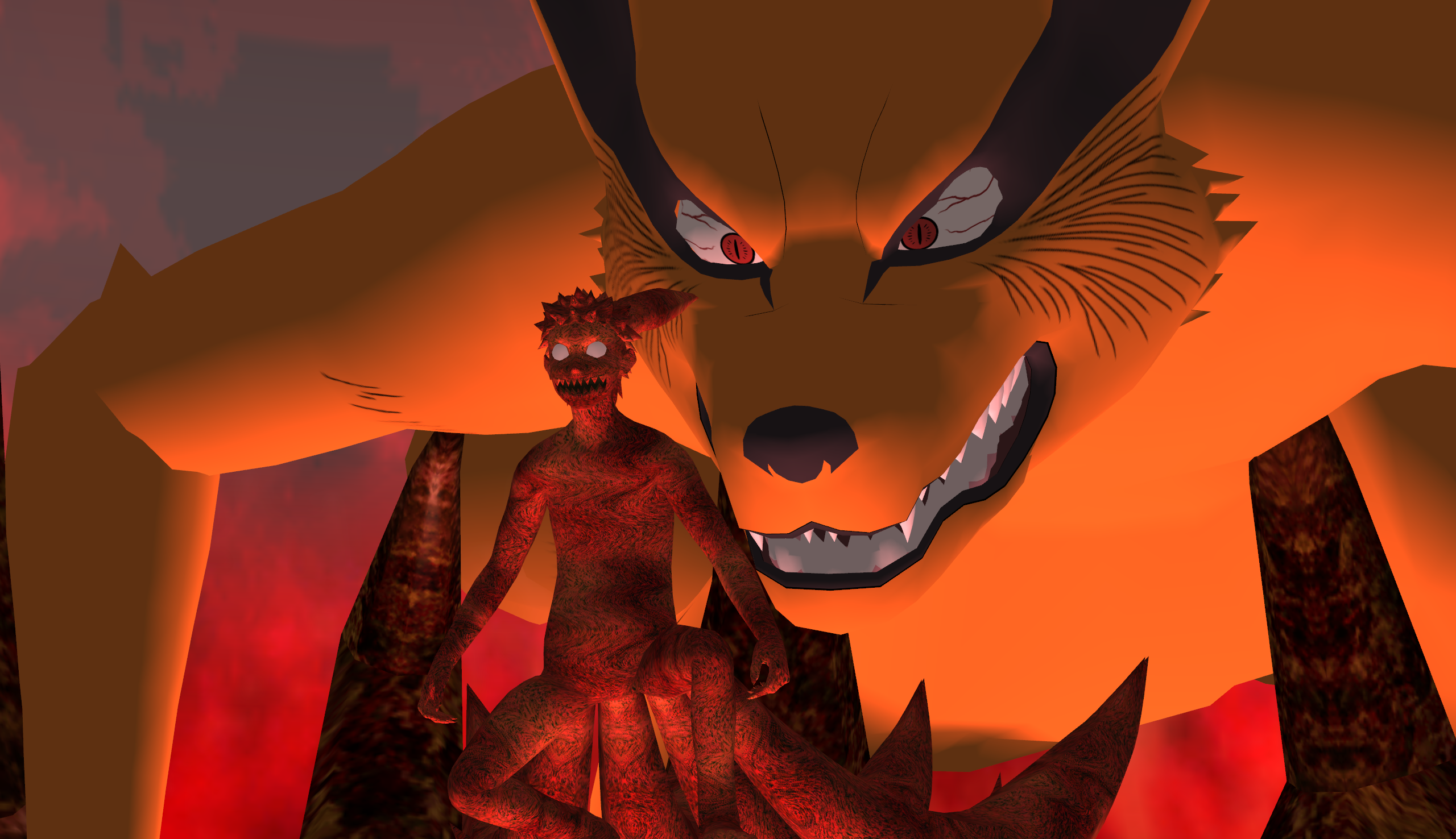 Kyuubi Kurama And Naruto Four Tails Form WallPaper By