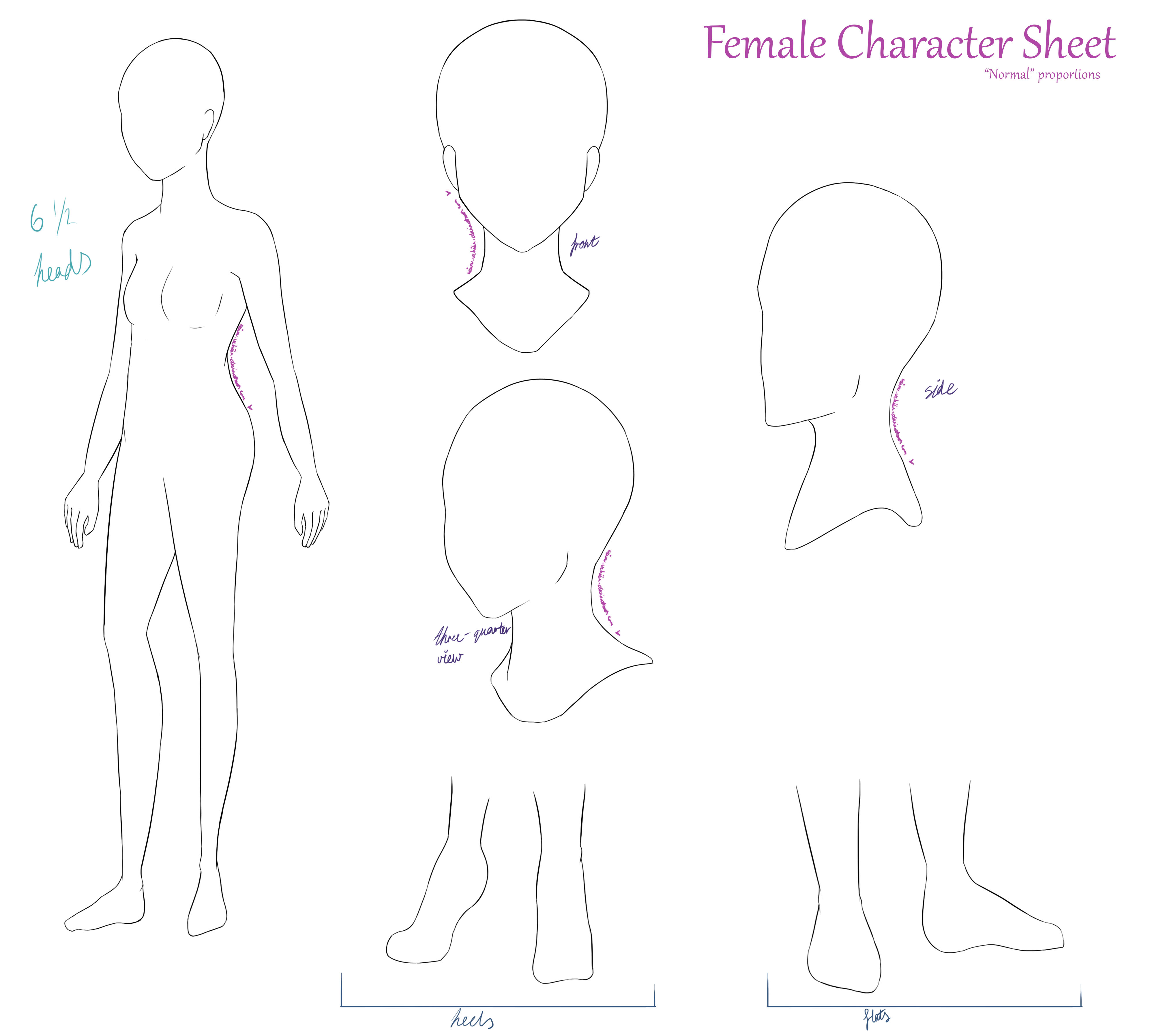 Character Sheet Base (FEMALE/Typical Bodytype) by HeiwaUchiha on