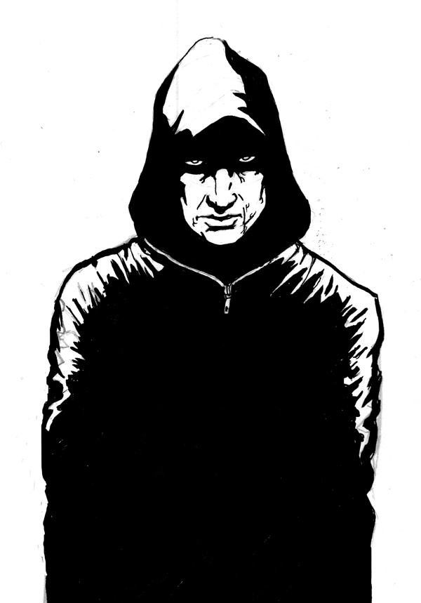 This is a photo of Decisive Guy In Hoodie Drawing