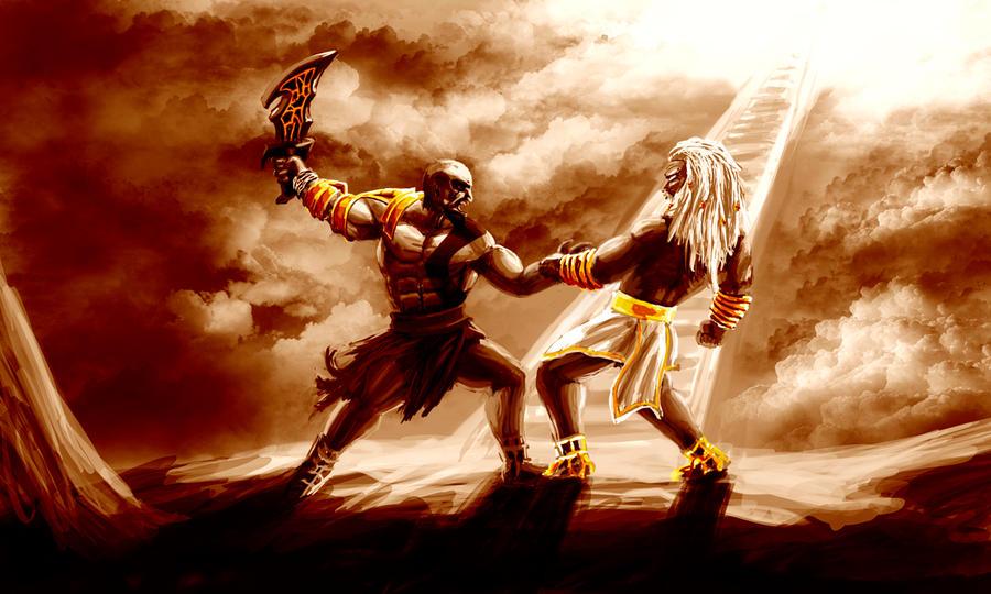 kratos vs zeus by petugee on deviantart