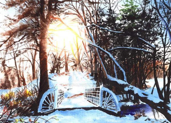 Snow Bridge - painting for sale by rieke-b