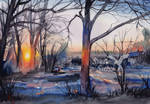 Winter morning near the railroad tracks