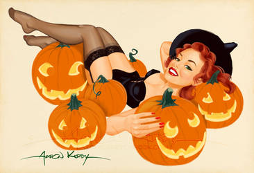Pumpkin pin up (redux) by Aaron Kirby by AtomicKirby