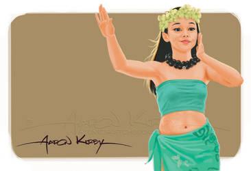 Wahine with Kukui lei by AtomicKirby