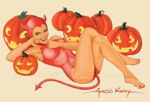 Devil pin up  by Aaron Kirby
