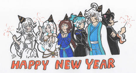 Commission: Happy New Year! 2019 by KeeperOfCoffins