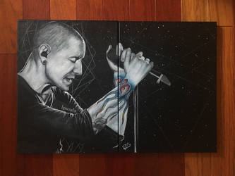 Chester Bennington Painting - Flames of a Legend