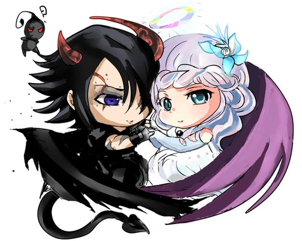 картинки аниме демон и девушка