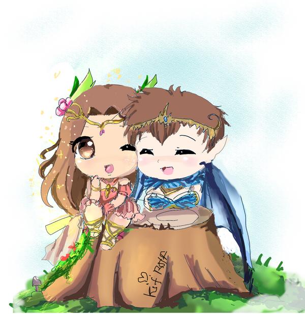 Emperess Boa Chibi Couple by InsainlyColorful