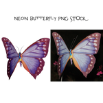 Neon Butterfly PNG STOCK1