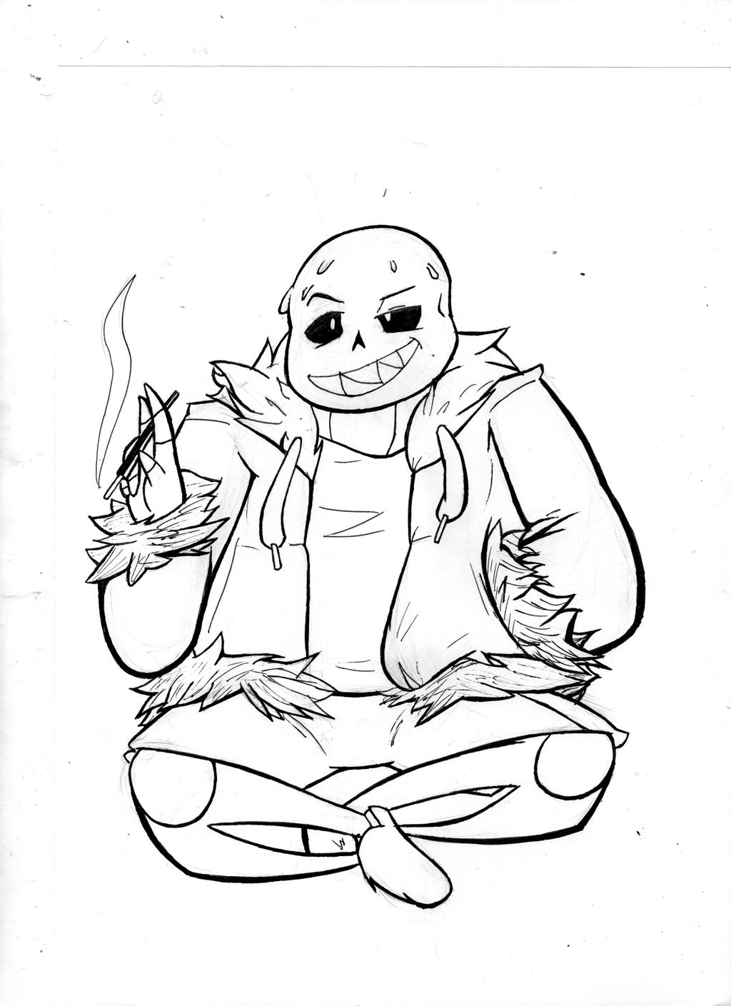 Underfell sans by asmallone on deviantart for Sans coloring page
