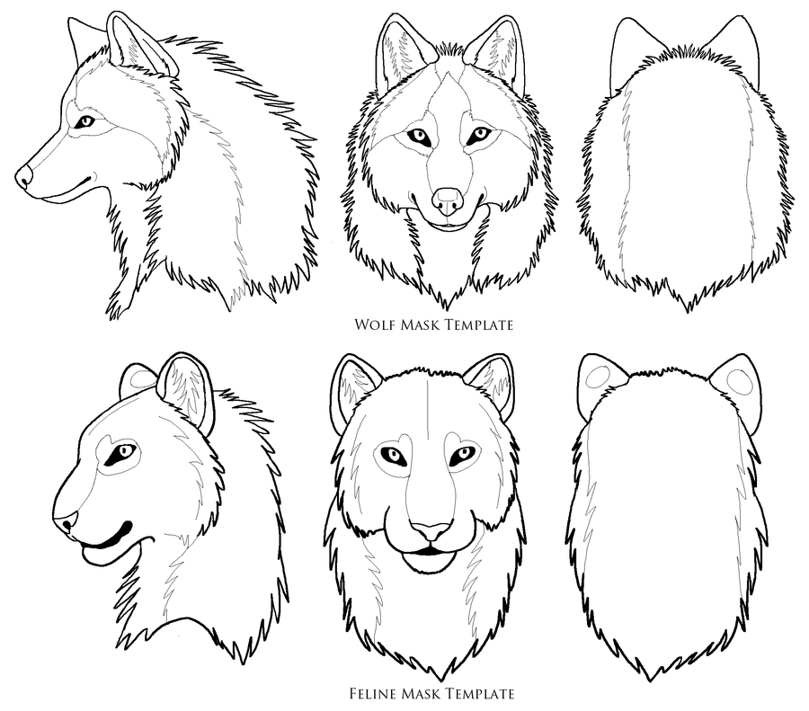 Wolf Face Mask Template Sketch Coloring Page