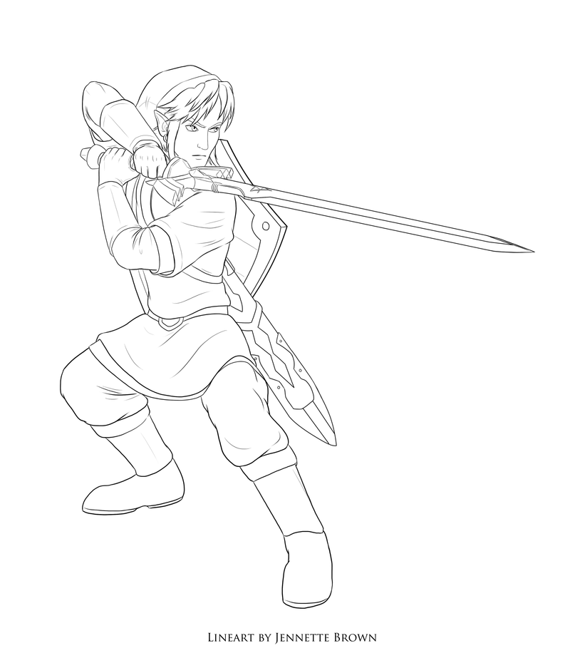 Free link skyward sword lineart by sugarpoultry on deviantart for Coloring pages sword