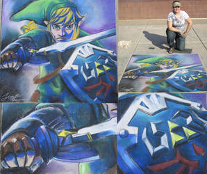 Skyward Sword Link - Chalk Art by sugarpoultry