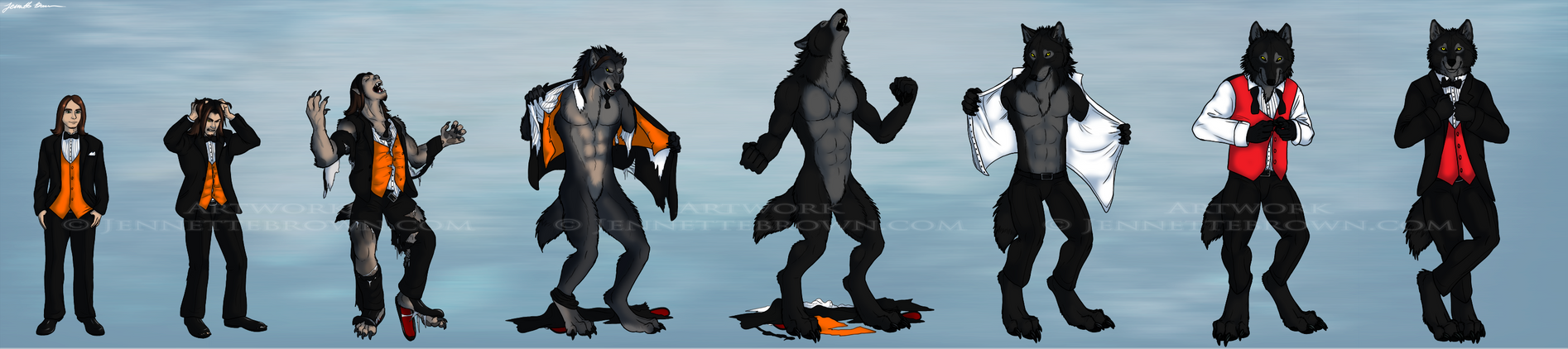TuxedoWerewolf Transformation Sequence by sugarpoultry