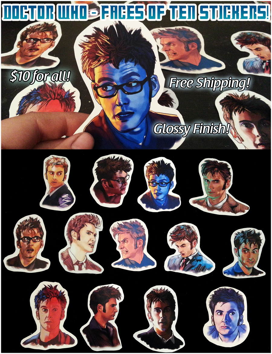 Doctor Who Tenth Doctor Stickers - $10 for all! by sugarpoultry
