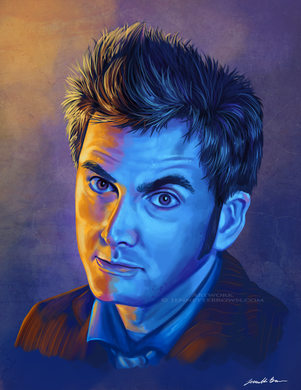 Doctor Who Tenth Doctor Portrait - Intense by sugarpoultry