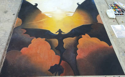 How To Train Your Dragon 2 Valka/Hiccup Chalk Art