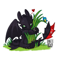 Chibi Toothless - Dragons Love Grass
