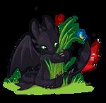 Chibi Toothless - Dragons Love Grass