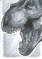 T-rex Copic Marker Sketch Card