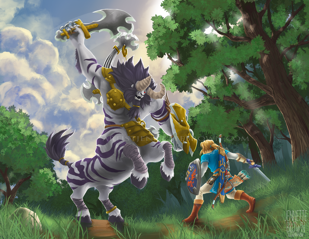 Legend of Zelda: Breath of the Wild - Lynel Fight by sugarpoultry