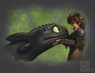 Hiccup and Toothless by sugarpoultry