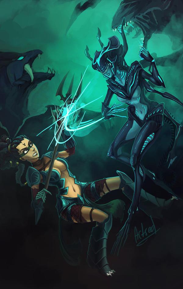 Headhunter Nidalee vs Xeno-Queen Elise by Artsed
