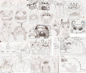 MONSTER DOODLE PAGE by loveandasandwich