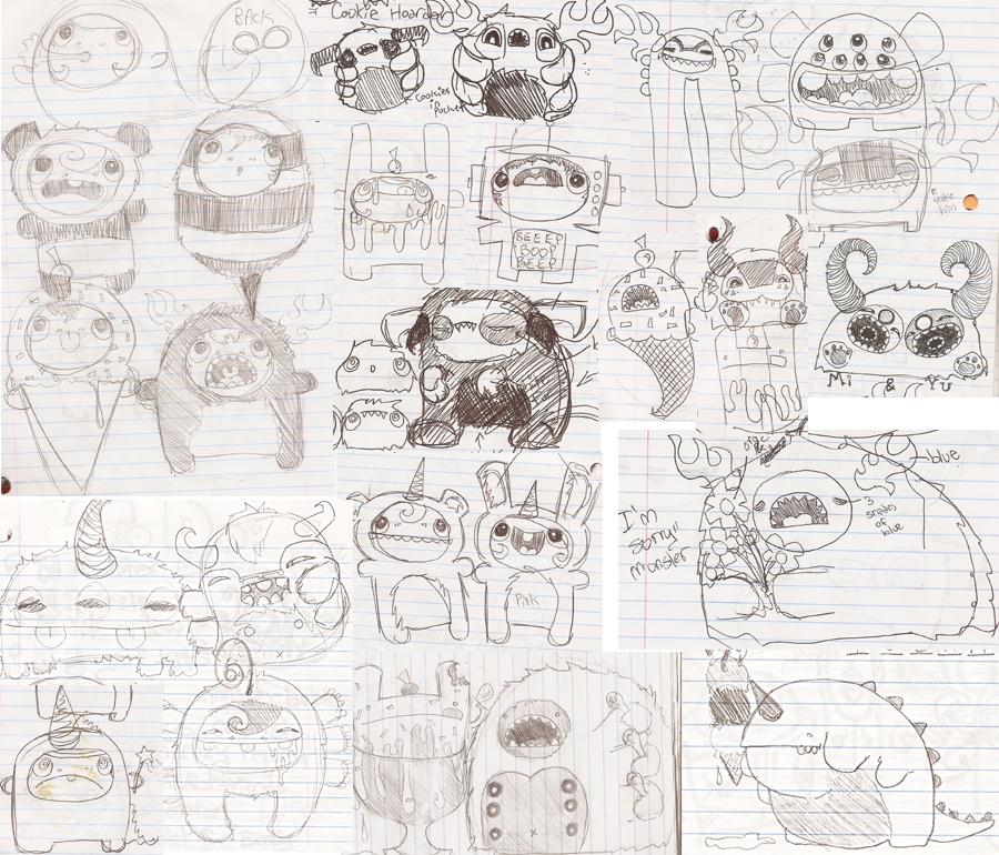 Monster doodle page by loveandasandwich on deviantart for Doodle art monster