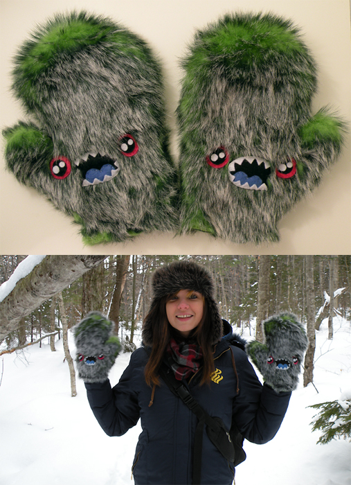 Green monster mittens by loveandasandwich
