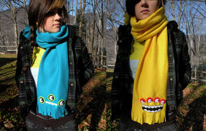 Teal + Yellow Monster Scarves by loveandasandwich