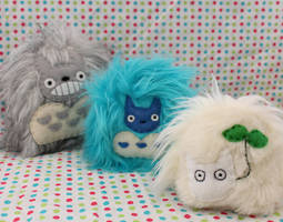 Yeti Totoro Trio by loveandasandwich