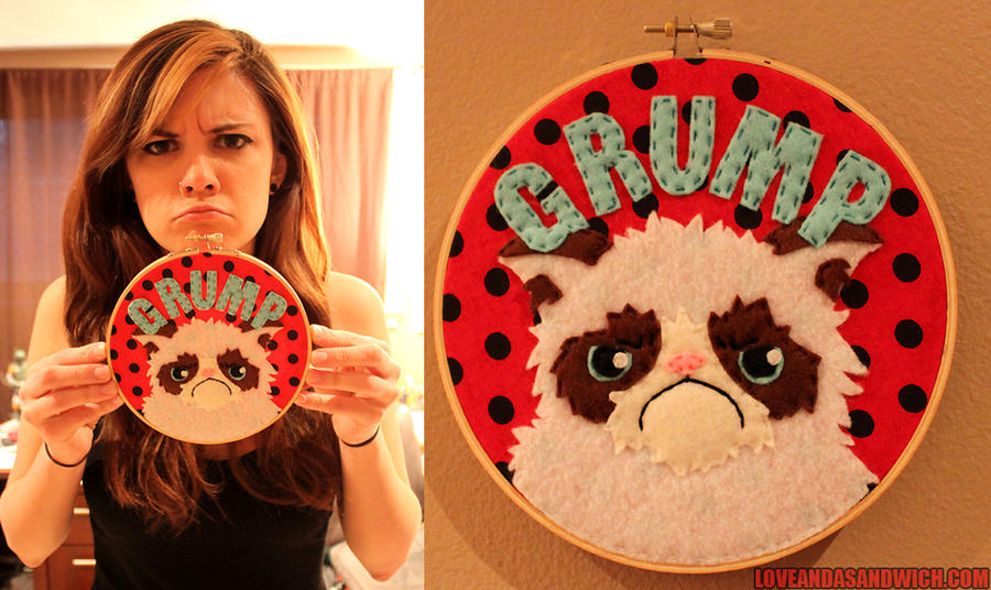 Grumpy Cat Hoop by loveandasandwich