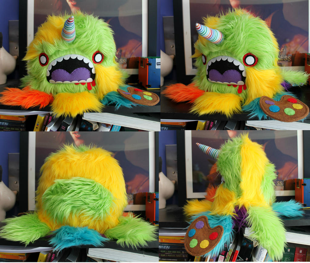 Rainbow Zombie Unicorn Painter Monstroctopus by loveandasandwich