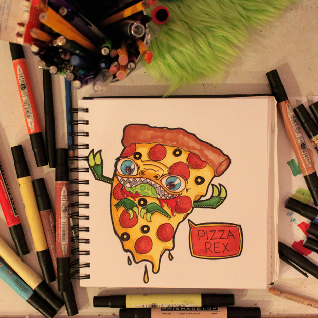 Pizza Rex by loveandasandwich