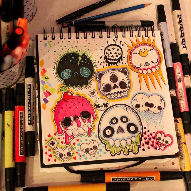 Skull Doodles by loveandasandwich