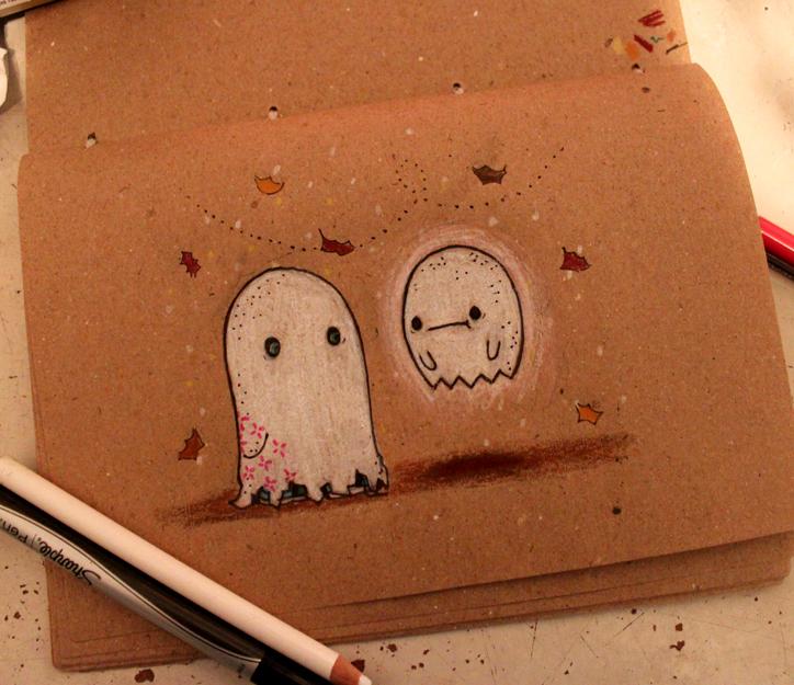 Drawlloween: Ghost by loveandasandwich