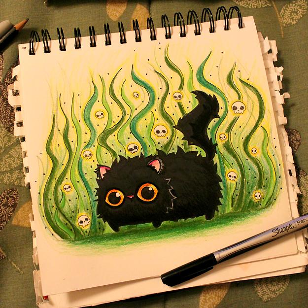 Drawlloween: Black Cat by loveandasandwich