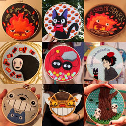 Studio Ghibli Embroidery Hoops