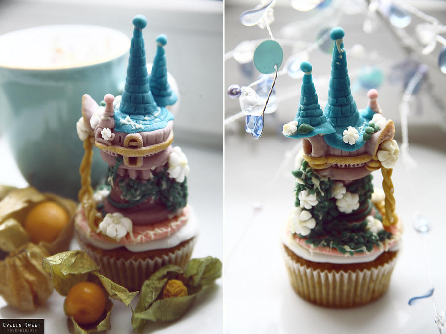 Tangled cupcake by Evelin-Novemberdusk
