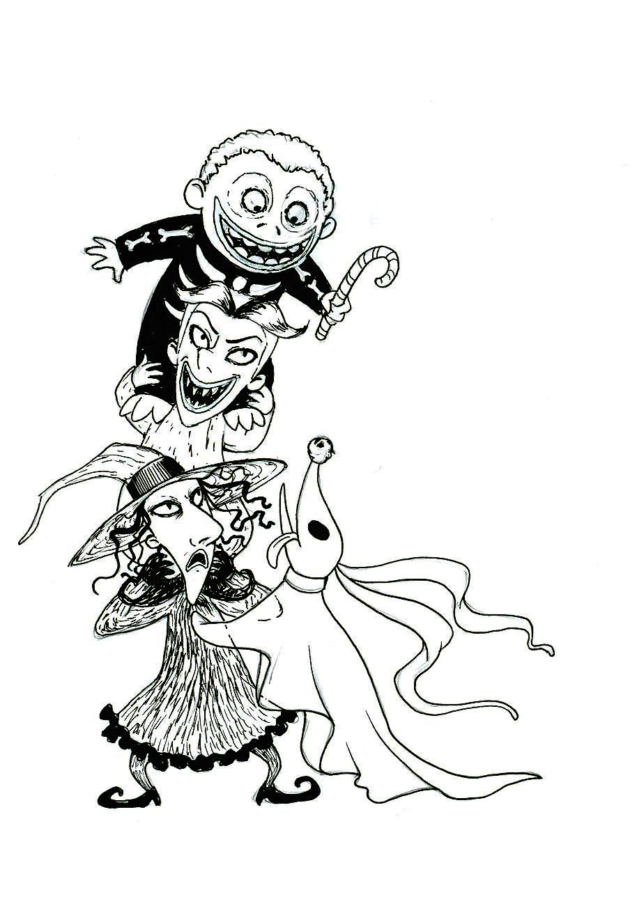 Nightmare before christmas coloring pages sketch template