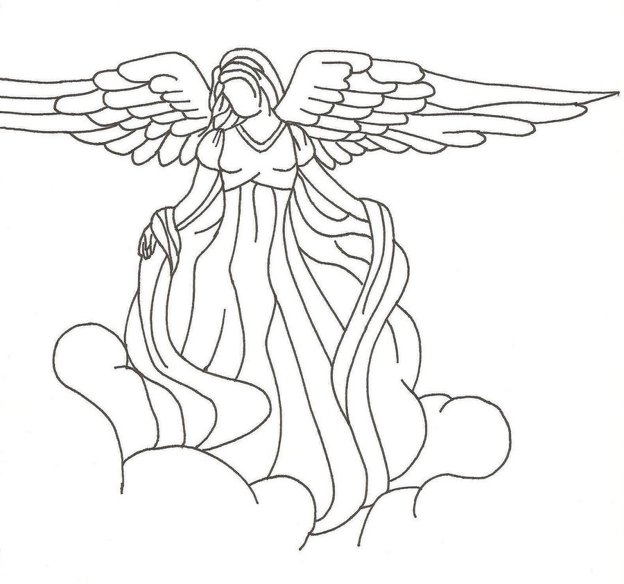 Line Drawing Pictures : Guardian angel by moonblaster on deviantart