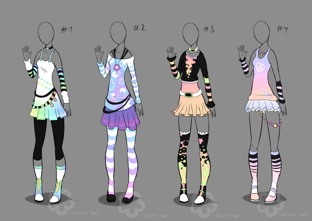 Pastel Outfit Adopts - sold by Nahemii-san on DeviantArt