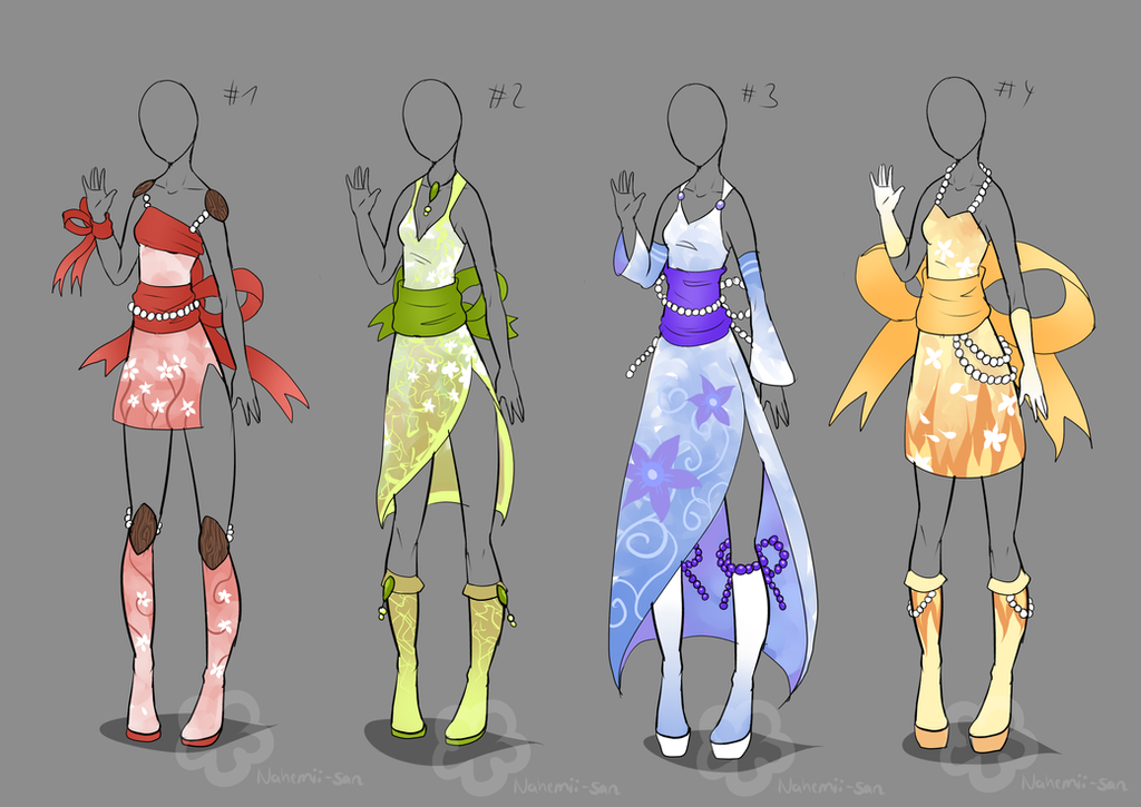 Kimono Inspired Outfits - sold by Nahemii-san on DeviantArt