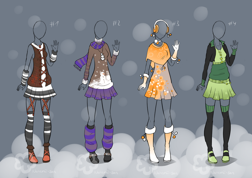 Winter Outfit Designs - sold by Nahemii-san on DeviantArt